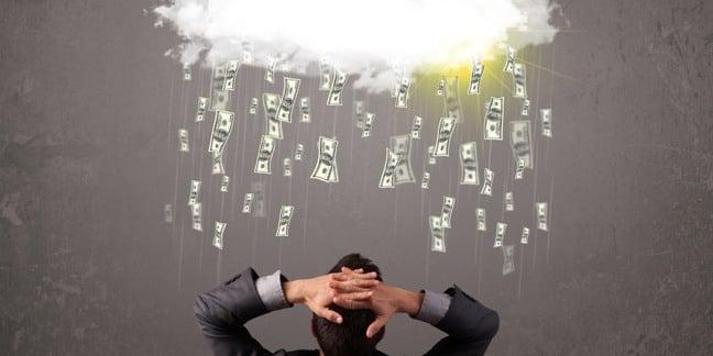 Money raining from cloud on man