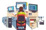 Illustration of developer writing code at desk with three monitors