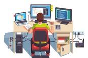 Иллюстрация разработчика, пишущего код за столом с тремя мониторами