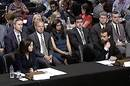 Sheryl Sandberg and Jack Dorsey at a senate hearing