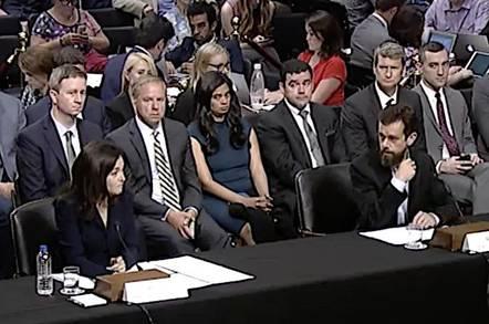 Sheryl Sandberg and Jack Dorsey at a senate hearing