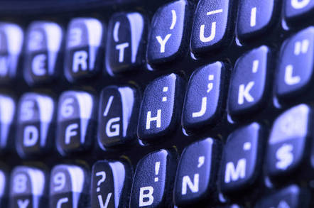 Close up of a BlackBerry keyboard