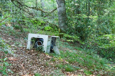 fly tipping a**holes leave washing machine in a forest.