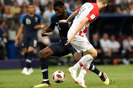 France's footballer Paul Pogba with a ball during World Cup 2018 final match France vs Croatia. Luzhniki Stadium, 15th July 2018.