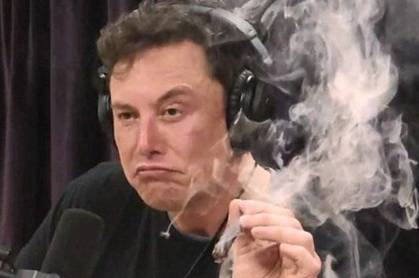 Elon Musk smoking a spliff on Joe Rogan's podcast