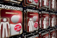Crowdsource action figure in shrink wrap package