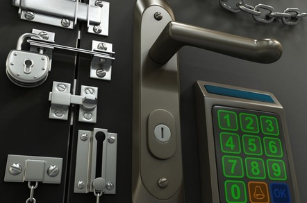 Room with many locks on door