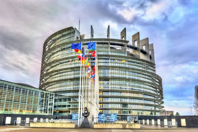 View of the European Parliament Building in Strasbourg