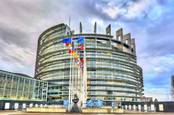 Strasbourg, France - December 5, 2017: View of the European Parliament Building in Strasbourg