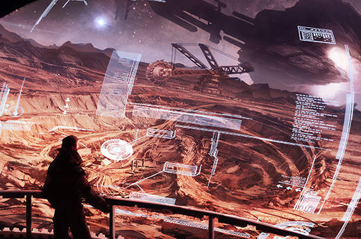 digital illustration of view of an observing showcase room look out to mining site
