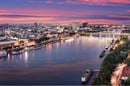 Aerial panorama of Bratislava, new bridge over Danube river with evening lights in capital city of Slovakia,Bratislava