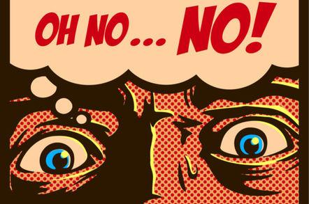 "Faux pop art illustration: sweating man thinking ""Oh no, no"""