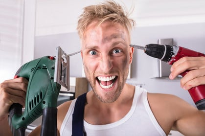 Crazy guy with power tools