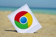 Chrome icon on sandy beach