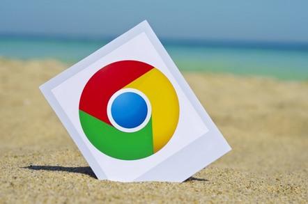 Chrome icon on sandy beach