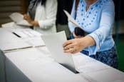 People voting with good old paper