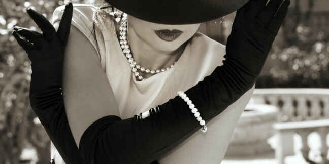 Verity Stob gloved with pearls