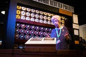 Ruth Bourne in front of reconstructed Bombe [photo credit: Charles Coultas]