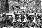 Old engraved illustration of battering rams being used on a castle