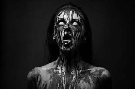 blood-covered woman