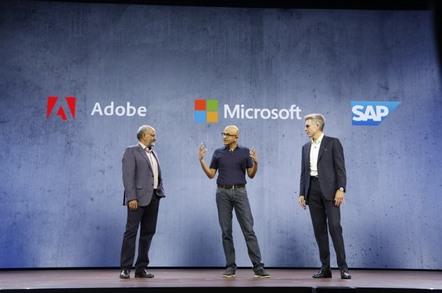 Shantanu Narayen, CEO of Adobe, Satya Nadella, CEO of Microsoft, Bill McDermott, CEO of SAP,