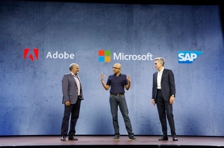 Shantanu Narayen, CEO of Adobe, Satya Nadella, CEO of Microsoft, Bill McDermott, CEO of SAP,