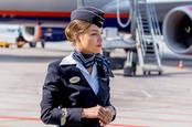Aeroflot flight crew and plane