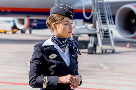 Aeroflot flight crew and plane
