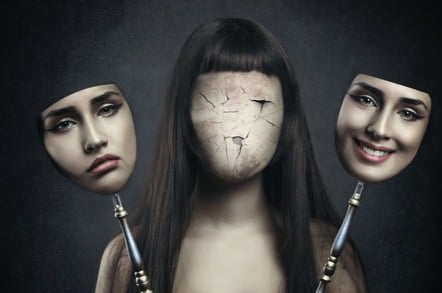 faceless woman with two masks
