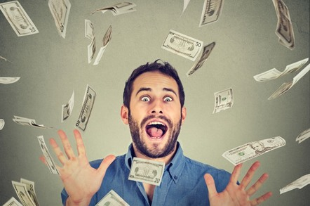 Man thrilled by rain of cash