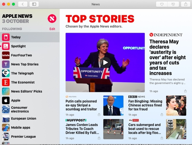 Mojave's News app