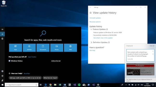Windows 10 1803 screenshot