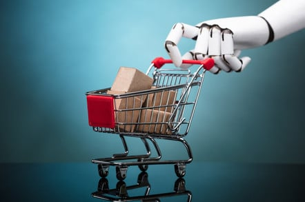 Robot holding shopping trolley