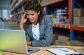 stressed exec at warehouse