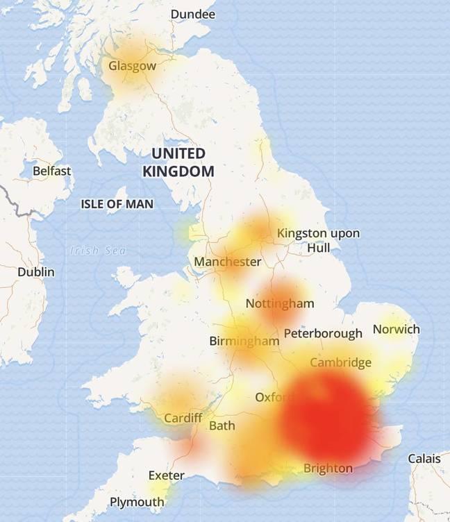 Screenshot of Virgin Media outage in UK