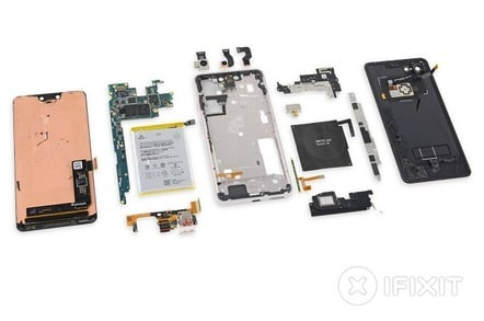 pixel 3 xl reveals innards festooned with glue and samsung the