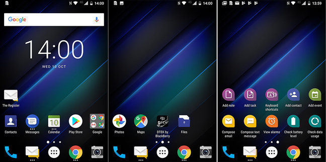 BlackBerry Key2 LE default home screens