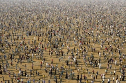People walking through the desert