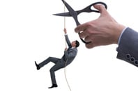 scissors cut rope as business suited guy climbs it - conceptual illustration on losing job