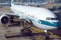 Cathay Pacific jet airplane at Hong Kong International airport