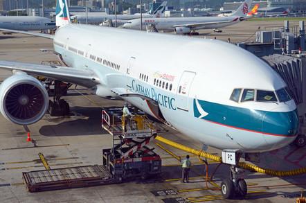 Cathay Pacific jet airplane at Hong Kong International airport