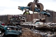 A crushed car
