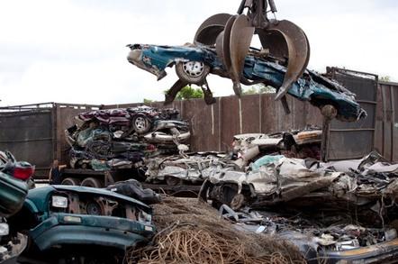 A crushed car