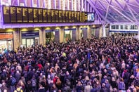 crowds amass at london kings cross station