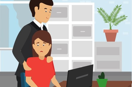 A man placing unwelcome hands on a co-worker's shoulders