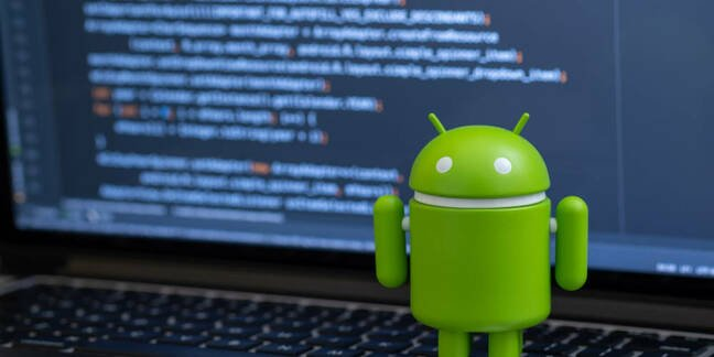 Shutterstock image of Android mascot on a laptop