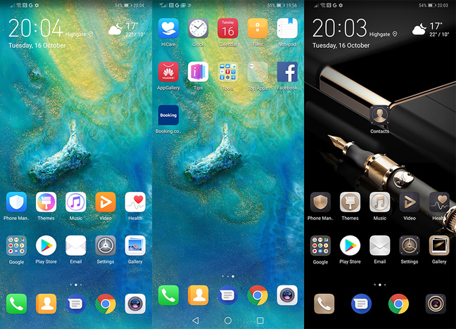 Mate 20 Pro Home Screens composite