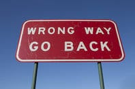 Wrong Way sign, Shutterstock, Phil Hill