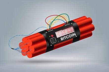 Dynamite illustration labelled Bitcoin
