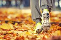 man runs on leaves